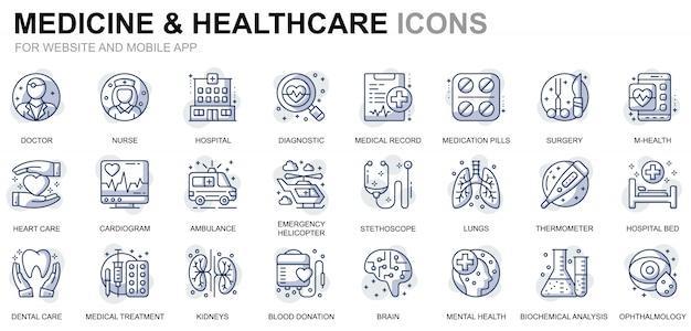 Webサイトとモバイルアプリのシンプルなセットのヘルスケアと医学ラインアイコン
