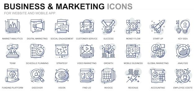 Webサイトとモバイルアプリのシンプルなセットビジネスとマーケティングラインアイコン