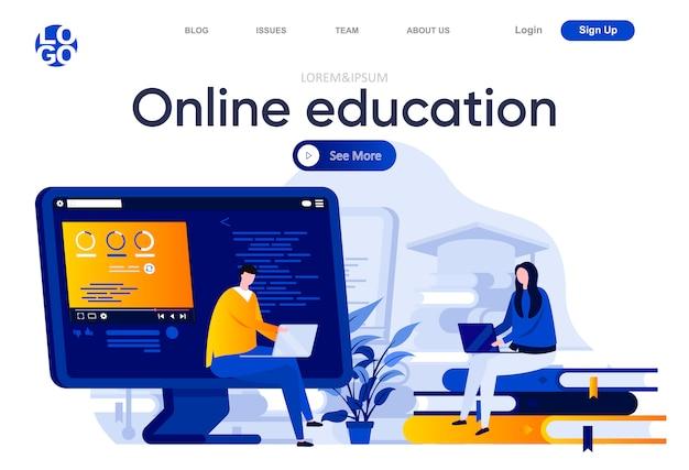 オンライン教育のフラットランディングページ。ノートパソコンのイラストで学ぶ学生。人のキャラクターとの遠隔教育、オンラインウェビナー、キャリアとスキル開発のwebページ構成。