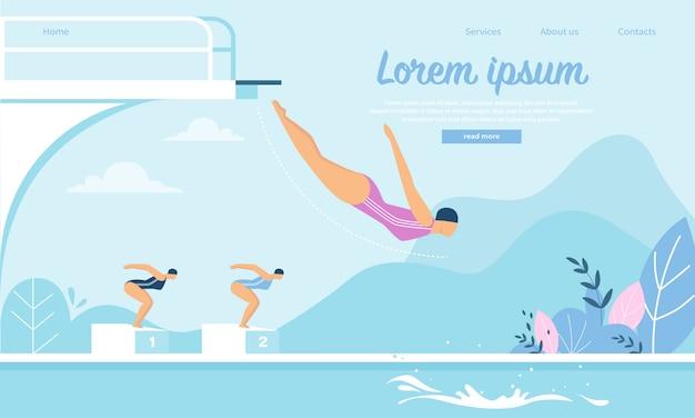 水に飛び込む若いスポーツウーマンと水泳大会のランディングページwebテンプレート