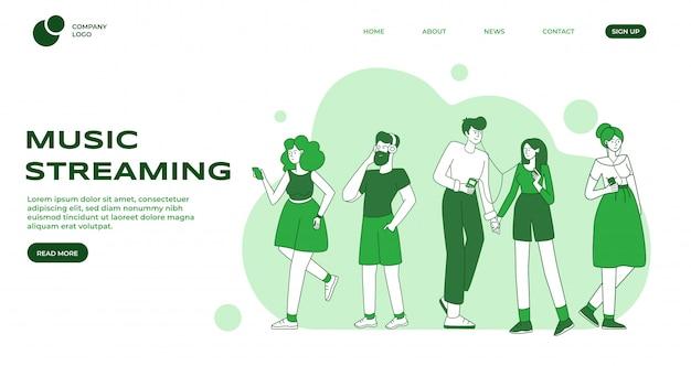 音楽ストリーミングのランディングページテンプレート。男性と女性の音楽愛好家、ヘッドフォンを持つ人々の平らな輪郭の文字。音楽イベント発表webバナーホームページデザインレイアウト