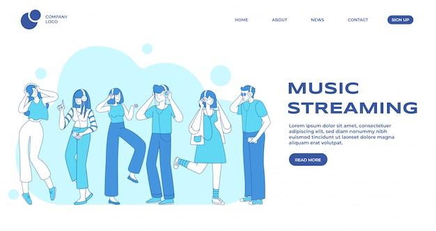 音楽ストリーミング、人々の好みのランディングページテンプレート。男性と女性の音楽リスナー、イヤホンを持つ人々は、平らな輪郭のキャラクターです。音楽イベントwebバナーホームページデザインレイアウト