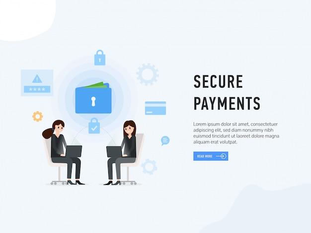 安全な支払いwebサイトのランディングページ