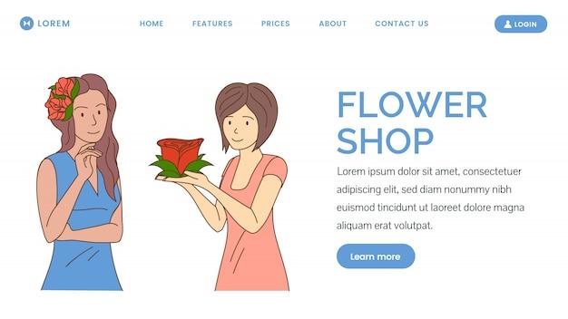 フラワーショップのwebバナー。割引、花の日、女性の日のランディングページのコンセプト。