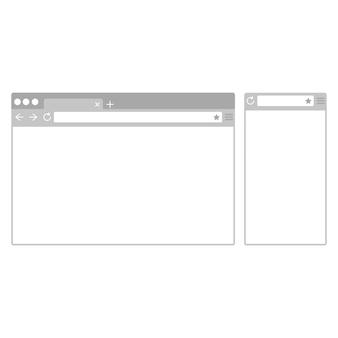 デスクトップおよび携帯電話のブラウザウィンドウフラットなデザインスタイルのさまざまなデバイスのwebブラウザ。