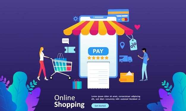 Webランディングページの人々のキャラクターとオンラインショッピングのコンセプト
