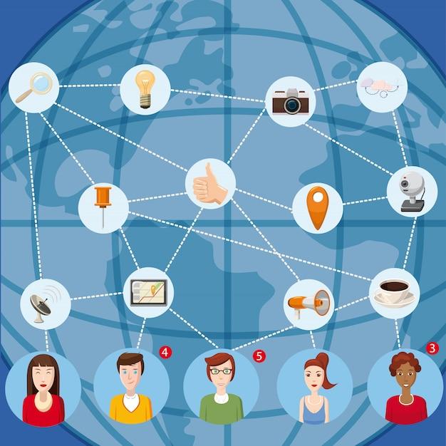 マーケティング技術の概念webのマーケティング技術ベクトル概念の漫画イラスト