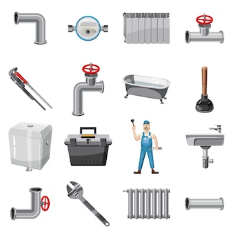 配管工の項目のアイコンを設定します。配管工の項目の漫画イラストベクターweb用アイコン