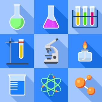 化学のアイコンを設定します。 webデザインのための化学アイコンのフラットセット