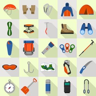 登山用品のアイコンを設定します。 webデザインのための登山機器アイコンのフラットセット