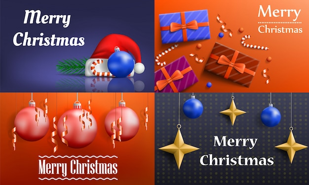 クリスマスバナーセット。 webデザインのクリスマスベクトルバナー設定のリアルなイラスト