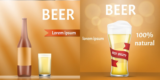 天然ビールのバナーを設定します。 webデザインの天然ビールベクトルバナーの現実的なイラスト