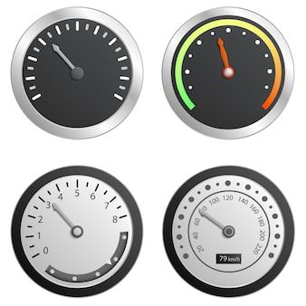 スピードメーターのアイコンを設定します。 webデザインの白い背景で隔離のスピードメーターベクトルアイコンの現実的なセット