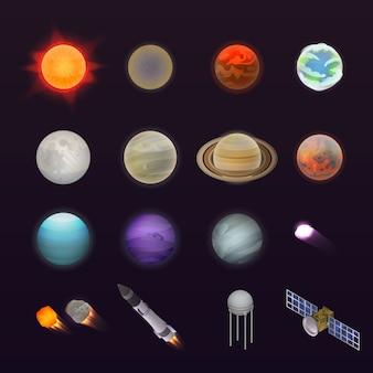 惑星のアイコンを設定します。 webデザインのための白い背景で隔離の惑星ベクトルアイコンの等尺性セット