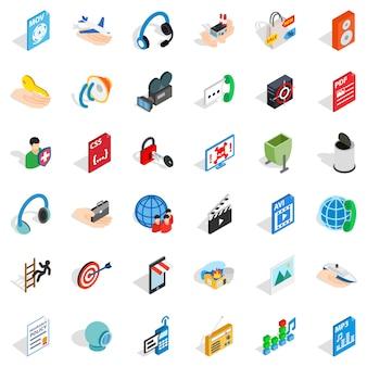 Webマーケティングのアイコンセット、アイソメ図スタイル