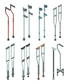 松葉杖のアイコンを設定します。白い背景で隔離のwebデザインのための松葉杖ベクトルアイコンの等尺性セット