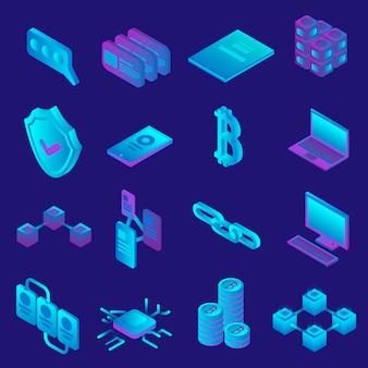 ブロックチェーンのアイコンを設定します。 webデザインのためのブロックチェーンベクトルアイコンの等尺性セット