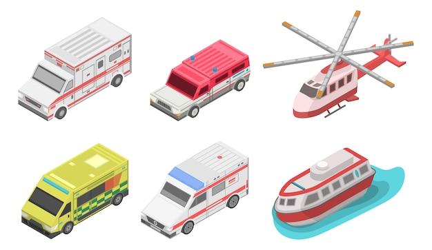 救急車のアイコンを設定します。 webデザインのための白い背景で隔離の救急車ベクトルアイコンの等尺性セット