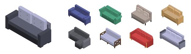 ソファのアイコンを設定します。白い背景で隔離のwebデザインのためのソファベクトルアイコンの等尺性セット