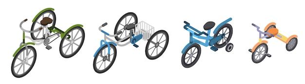 三輪車のアイコンを設定します。白い背景で隔離のwebデザインのための三輪車ベクトルアイコンの等尺性セット