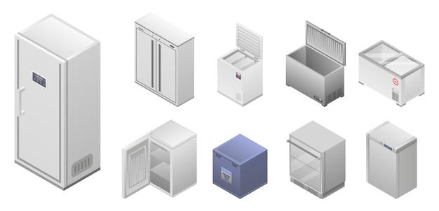冷凍庫のアイコンを設定します。白い背景で隔離のwebデザインのための冷凍庫ベクトルアイコンの等尺性セット