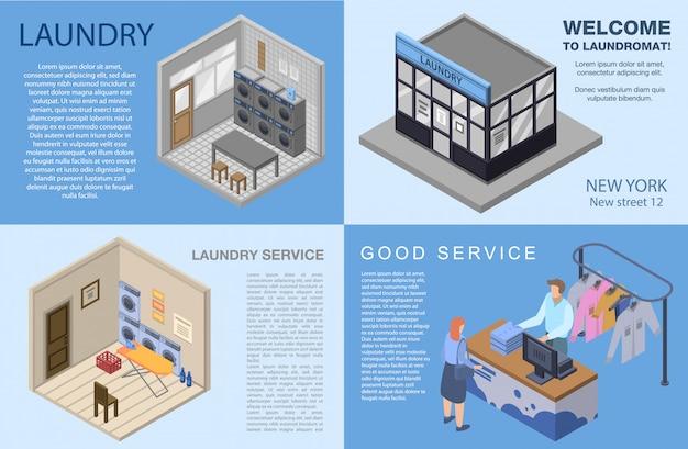 ランドリーバナーを設定します。 webデザインのための洗濯ベクトルバナーの等尺性セット