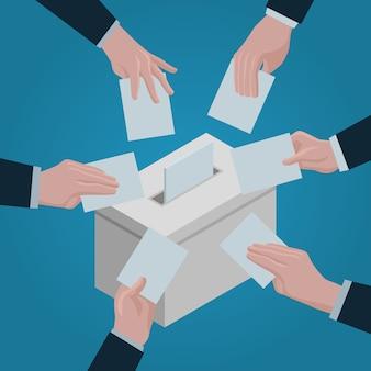 投票の概念の背景。 webデザインのための投票ベクトル概念の背景の等角投影図