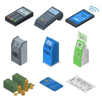 銀行端末のアイコンを設定します。 webデザインの白い背景で隔離の銀行ターミナルベクトルアイコンの等尺性セット