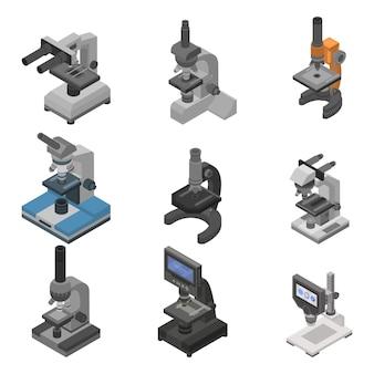 顕微鏡のアイコンを設定します。 webデザインの白い背景で隔離の顕微鏡ベクトルアイコンの等尺性セット