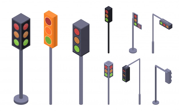 交通信号のアイコンを設定します。 webデザインの白い背景で隔離のトラフィックライトベクトルアイコンの等尺性セット