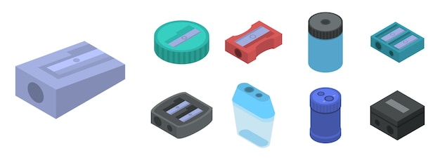 シャープナーのアイコンを設定します。白い背景で隔離のwebデザインのためのシャープナーベクトルアイコンの等尺性セット