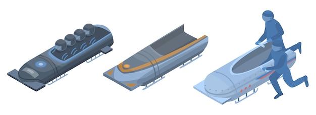 ボブスレーのアイコンを設定します。白い背景で隔離のwebデザインのためのボブスレーベクトルアイコンの等尺性セット
