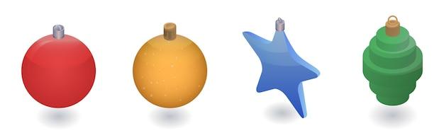 クリスマスツリーのおもちゃのアイコンを設定します。クリスマスツリーのおもちゃの等尺性セットベクトル白い背景で隔離のwebデザインのためのアイコン