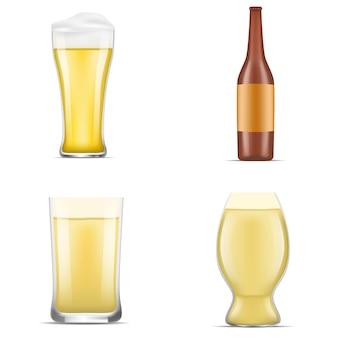 ドイツビールのアイコンを設定します。 webデザインのための白い背景で隔離のドイツビールベクトルアイコンの現実的なセット