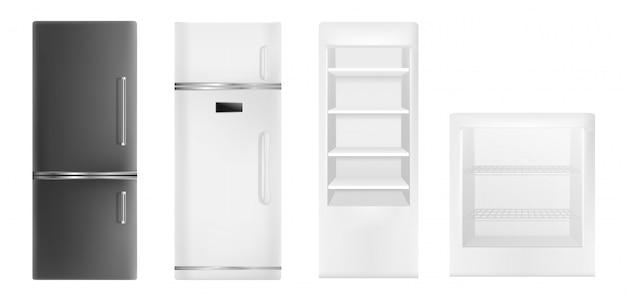 冷蔵庫のアイコンを設定します。白い背景で隔離のwebデザインのための冷蔵庫ベクトルアイコンの現実的なセット