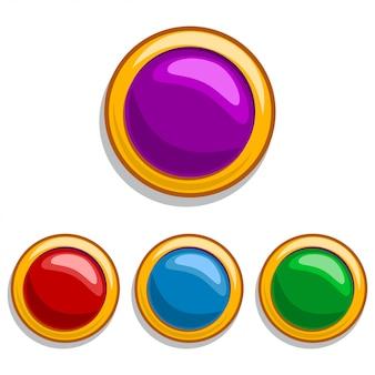 円の形をした赤、青、緑、紫の色のゴールドフレームの宝石石。白で隔離されるモバイルゲームとwebデザインの要素。漫画のアイコン。