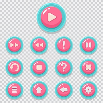 ゲームボタンベクトル漫画のアイコンを設定します。透明な背景に分離されたモバイルアプリのweb要素。