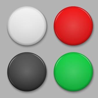 空白の光沢のあるバッジまたはwebボタンのセットです。
