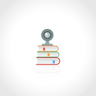 Webカメラと白い背景のベクトル図に分離された本のアイコンを持つオンライン教育の概念