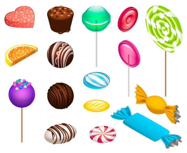 甘いお菓子のアイコンを設定します。分離されたwebデザインのための甘いお菓子ベクトルアイコンの等尺性セット