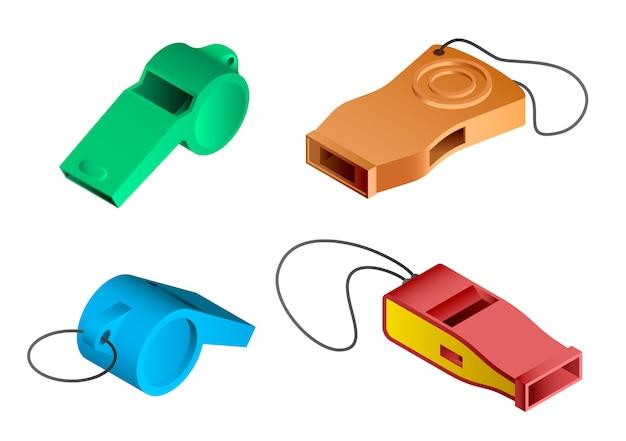 笛のアイコンを設定します。分離されたwebデザインの笛ベクトルアイコンの等尺性セット