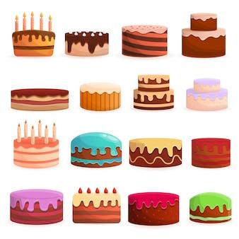ケーキの誕生日のアイコンを設定します。 webデザインのためのケーキ誕生日ベクトルアイコンの漫画セット