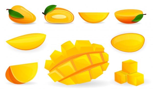 マンゴーのアイコンを設定します。 webデザインのためのマンゴーベクトルアイコンの漫画セット