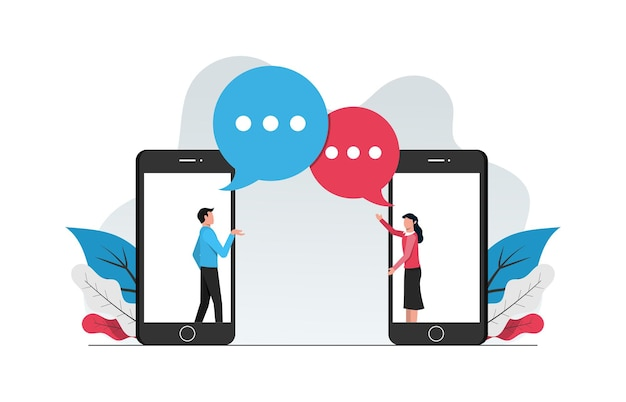 Web 채팅 온라인 개념. 남자와 여자 전화 그림에서 대화를 하 고.