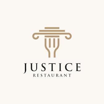 フォークと柱のアイコンのロゴデザインベクトルイラストとwebcreative法律事務所。フォークと柱のロゴデザインを持つ正義の法律事務所