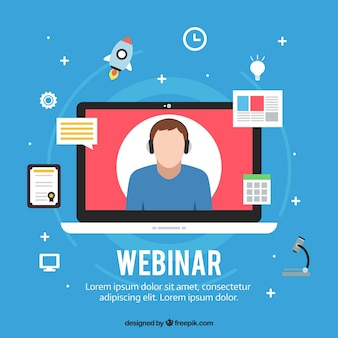 Webinar background in flat design