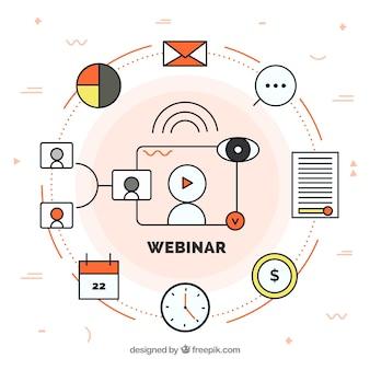 Веб-семинар в плоском стиле
