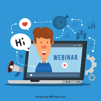 Webinar background with character in hand drawn style