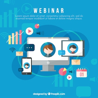 Webinar background with devices in flat style