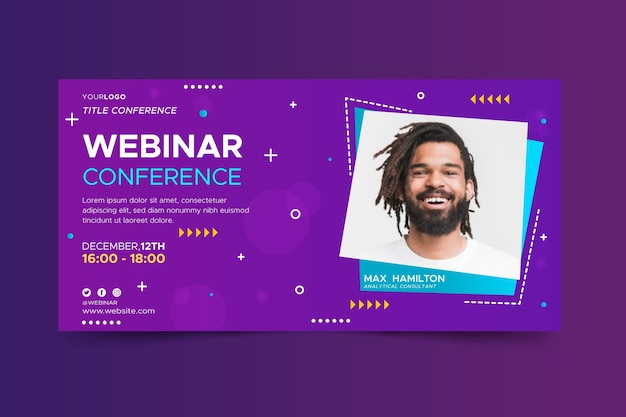 Webinar banner with abstract shapes and photo
